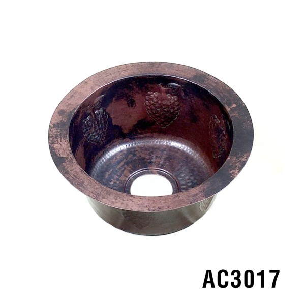 "Grapes 16"" Copper Bar Sink Item AC3017"