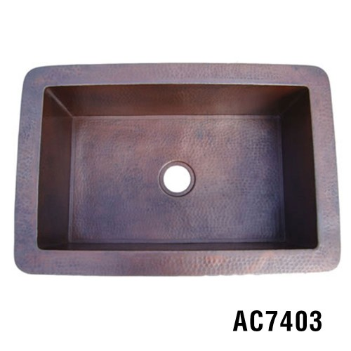 "33""x22""x10"" Copper Kitchen Sink Item AC7403"