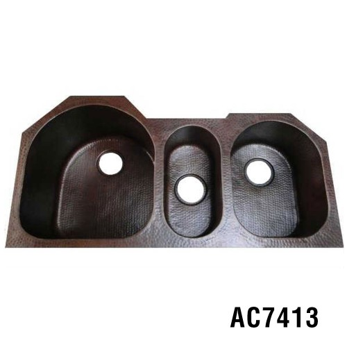 "39.5""x20""x10""  Triple Copper Kitchen Sink Item AC7413"