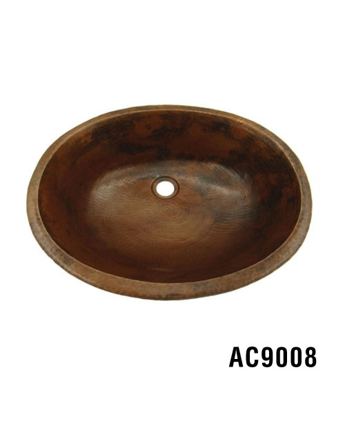 "19.25"" x 15.75"" Oval Copper Sink"