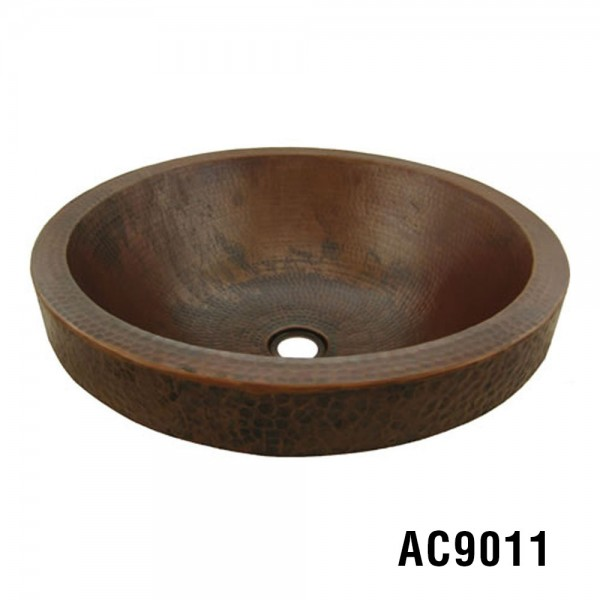"17"" Skirt Round Vessel Copper Sink"