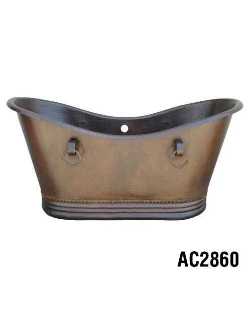 Ariellina Double Slipper Soaker Copper Tub 60""