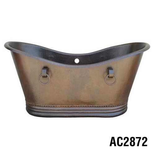 ARIELLINA DOUBLE SLIPPER SOAKER COPPER TUB 72""