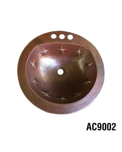 Ariellina Texas Stars Handmade Round Copper Sink